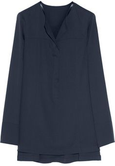 Donna Karan Modern Icons leather-trimmed stretch-silk blouse