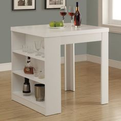 White-3-Shelf-Storage-Counter-Height-Dining-Table-Home-Living-Kitchen-Furniture