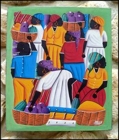 """Haitian Market Women Hand Painted Canvas Painting - Original Art of Haiti - 20"""" x 24""""  by TropicAccents, $39.95"""