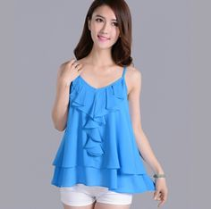 $8.99 // Plus size women clothing S   6XL,New 2016 women casual chiffon shirts & blouse,colorful Spaghetti Strap vest,vestidos femininos-in Blouses & Shirts from Women's Clothing & Accessories on Aliexpress.com   Alibaba Group
