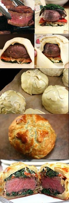 Recipe for Individual Beef Wellingtons with Mushroom, Spinach, Roasted Pepper, and Blue Cheese Filling. Decorate them like little gifts for any occasion!