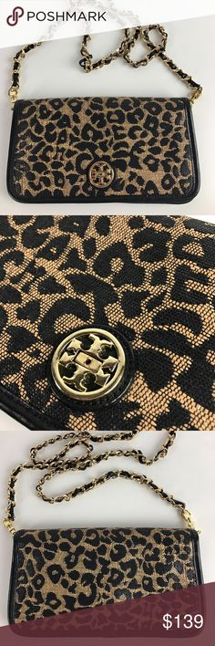 "Tory Burch Adalyn Leopard Raffia Clutch Crossbody Authentic. Gently used. Good condition inside and out. Turn lock on clasp is missing, flap still stays closed when in use, but can't be locked. Priced accordingly - See photos.   Made of raffia and cotton canvas. 9"" x 5 1/4"" x 1"". Long strap for shoulder or crossbody wear. Interior zipper pocket and slip pockets. Fabric lining. Gold tone hardware.   Thank you for your interest!  PLEASE - NO TRADES / NO LOW BALL OFFERS / NO OFFERS IN COMMENTS…"