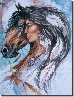 Taylor Native American Horse Ceramic Accent Tile x - - stuff for the kids room Native American Horses, Native American Paintings, Native American Images, American Indian Art, Indian Paintings, Art Paintings, Native American Drawing, Abstract Paintings, Native Indian