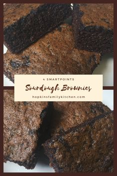 Sourdough Brownies makes the perfect dessert and can use up extra sourdough starter. Each slice is only 4 SmartPoints. Dough Starter Recipe, Sourdough Starter Discard Recipe, Sourdough Recipes, Starter Recipes, Sourdough Pie Crust Recipe, Sourdough Chocolate Cake Recipe, Sourdough Biscuits, Brownie Desserts, Köstliche Desserts