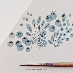 watercolour blue floral by minna may