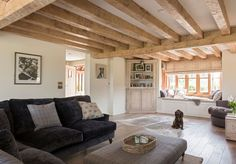 Border Oak - the oak ceiling joists perfectly complement the brown spaniel - every home should have one!
