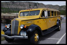 Vintage Yellowstone Touring Bus  I love it!  Put a big 'ol Diesel engine in it... spruce up the interior... get on down the road!