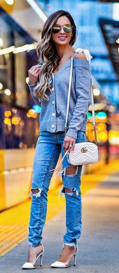 spring fashion  Grey Off Shoulder Knit & Destroyed Denim