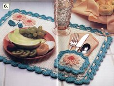Cottage Kitchen Crochet Patterns Placemat Rug Napkin Holder & Ring and potholder Crochet Leaf Patterns, Crochet Leaves, Crochet Borders, Crochet Diagram, Doily Patterns, Crochet Decoration, Crochet Home Decor, Crochet Gifts, Easy Crochet