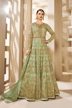 Heavy butterfly net anarkali salwar suit in green color. Green party wear anarkali dress is heavy embroidery with stone and codding work. Green salwar kameez is heavy butterfly net fabric top and dull santoon fabric bottom with nazneen fabric dupatta. Bridal Anarkali Suits, Bridal Lehenga Choli, Anarkali Dress, Long Anarkali, Best Indian Wedding Dresses, Floor Length Anarkali, Indian Dresses Online, Green Lace, Mint Green