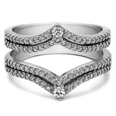 0.53 Carat Double Row Chevron Style Anniversary Ring Guard - Ring Guards