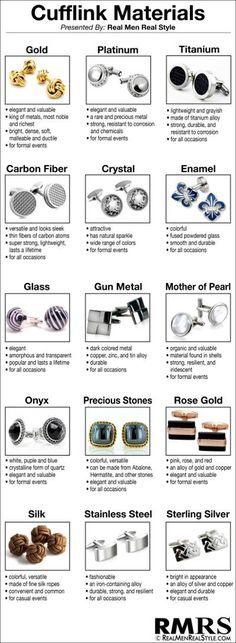 Cufflink Materials #cufflink #material #accessories More
