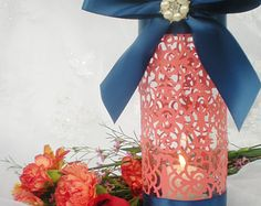 "Wedding centerpiece, 10"" tall, coral navy blue, intricate elegant design, CUSTOM COLORS available"