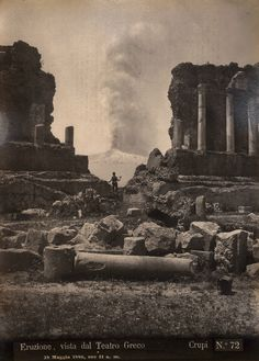 Giovanni Crupi - Greek theatre - Taormina with the smoke eruption of Mount Etna on May 18 1886