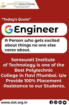 Scientists dream about doing great things. Engineer do them!! * * #engineer #siot #siotpolytechnic #navimumbai #engineeringeducation #100% #placement #career #engineering Navi Mumbai, Today Quotes, Get Excited, Scientists, Career, Engineering, Technology, Education, Digital