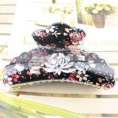 Korean white + red + black pattern acrylic hairpin