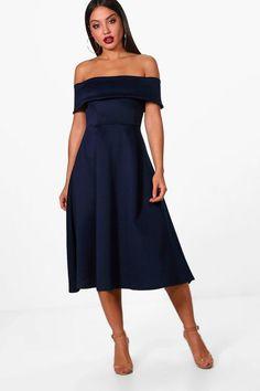128c5535b21c2 Claire Off the Shoulder Midi Skater Dress Midi Skater Dress, Dresses For  Sale, Dress