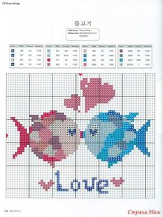 fish in love Cross Stitch Sea, Cross Stitch Cards, Cross Stitch Animals, Cross Stitching, Cross Stitch Embroidery, Cross Stitch Designs, Cross Stitch Patterns, Beading Patterns, Embroidery Patterns