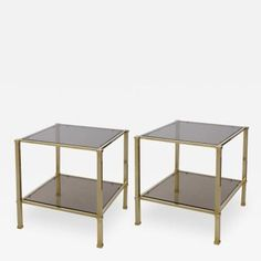 A Pair of French Solid Brass and Smoked Glass Square Side Tables