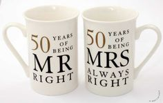 Show details for 50th Anniversary Gift Set of 2 China Mugs 'Mr Right & Mrs Always Right'