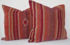 Modern Decorative Kilim Pillow Cover SET  Red Orange by Sheepsroad, $99.00