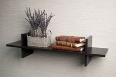 "Decorative Espresso ""H"" Shaped Wall Shelf"