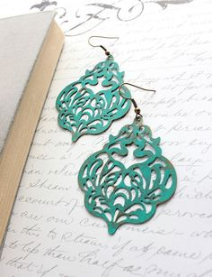 Large Patina Earrings Teal Filigree