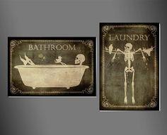 Salle de bains & signes de blanchisserie, art, crâne, squelette, Halloween, gothique, goth, c