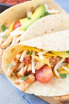 An easy recipe for Slow Cooker Taco Chicken. My family has made this so many times we've lost count! It's a healthy weeknight dinner made simple with the help of your crock pot! Slow Cooker Chicken Tacos, Taco Chicken, Chicken Recipes, Tacos Crockpot, Chicken Cooker, Lime Chicken, Chicken Fajitas, Slow Cooker Recipes, Cooking Recipes