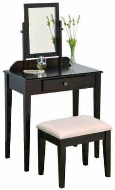 awesome Crown Mark Iris Vanity Table/Stool, Espresso Finish with Beige Seat