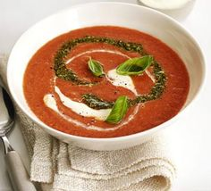 Rich Tomato Soup with Pesto - When you've got rich tinned tomatoes and intense, fruity SunBlush tomatoes, there's no reason not to enjoy homemade tomato soup in the depths of winter. Bbc Good Food Recipes, New Recipes, Recipies, Dinner Recipes, Tomatoes On Toast, Plum Tomatoes, Bbc Good Food Show, Tomato Soup Recipes, Salad