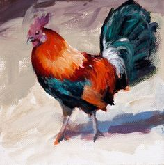 Colorful Rooster Acrylic 6 x 6 Original Painting, painting by artist John K. Harrell