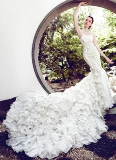 Get inspired: Look at the train on this Yumi Katsura Fall/Winter 2013/2014 #wedding dress! Gorgeous!