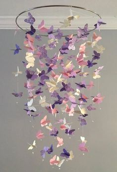 Butterfly Chandelier Mobile, in purple and pink-mostly solid butterflies girl room mobile, nursery mobile, baby girl mobile, baby mobile - Children Room Girl Butterfly Bedroom, Butterfly Mobile, Purple Butterfly Nursery, Diy Butterfly, Teen Girl Bedrooms, Little Girl Rooms, Baby Bedroom, Nursery Room, Nursery Ideas