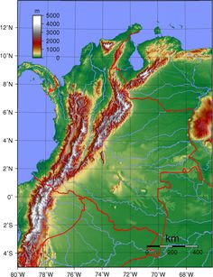 Topography of the 31 departments of Colombia (not including San Andres y Providencia) Sierra Nevada, Central America, South America, Latin America, Colombia Map, Agricultural Practices, Andes Mountains, Conquistador, Topographic Map