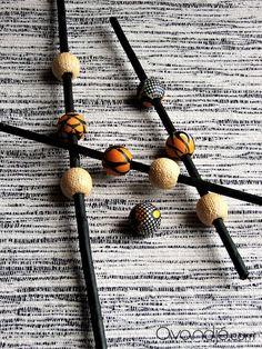 Perles artisanales en raphia et tissu wax, coloris jaune, jaune-orangé, blanc et noir, Avandjé bijoux, Biarritz #perles #perlesraphia #tissuwax #pagne #perlestextile #perlestissu #perleswax #perlesfantaisie #raphiavinifera #perlesafro #afrochic #créationoriginale #avandjébijoux #faitmain #savoirfaire #biarritz Afro Chic, Jaune Orange, Biarritz, Textiles, Bobby Pins, Creations, Hair Accessories, Beauty, Handmade Chain Jewelry