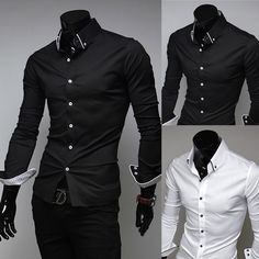 Mens Luxury Casual Slim fit Stylish Dress Shirt Black/White 3Colors 4Size in Clothing, Shoes & Accessories | eBay
