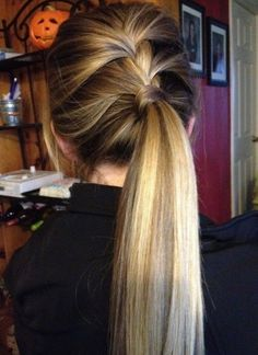 Straight Long Hairstyles for School: Braid Ponytail
