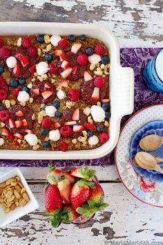 Peanut Butter and Jelly Breakfast Bake | recipe by FamilyFreshCooking.com