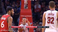 NBA - Blake Griffin balance une chaussure au visage de Cory Joseph