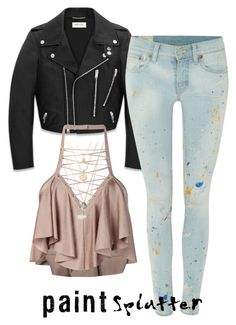 """""""Untitled #159"""" by paigeromano ❤ liked on Polyvore featuring Yves Saint Laurent, Polo Ralph Lauren, Balmain, Kendra Scott and paintsplatter"""