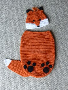 Finley the Fox Cocoon and Hat Set crochet pattern by ImInStitches13 on Etsy https://www.etsy.com/listing/277417798/finley-the-fox-cocoon-and-hat-set