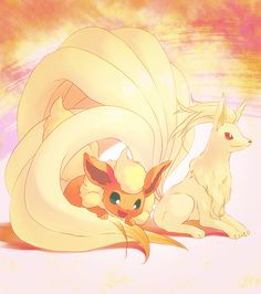 Ninetails and Flareon