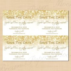 Have your guests Save the Date with these celebratory White Gold Sparkles cards - They are compatible with Avery® Postcard products for quick and easy home printing! These cards are: Ready-made Instant Downloads - Text-editable by you on your home computer in Microsoft® Word or Pages