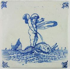 Antique Dutch Delft tile depicting Cupid standing on a whale while peeing