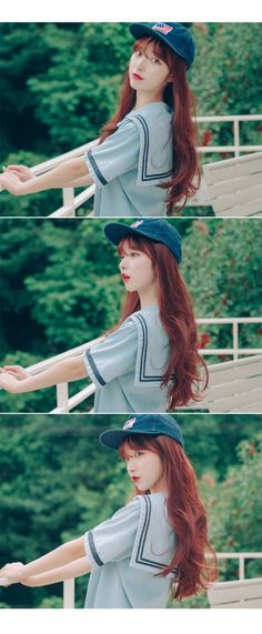 Cute hair X sailor shirt X adorable SnapBack Korean Ulzzang, Korean Girl, Asian Girl, Uzzlang Girl, Girl Day, Love Fashion, Fashion Beauty, Girl Fashion, Ulzzang Fashion