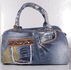 Купить HandMade Джинсовая сумка своими руками - голубой, джинсовая сумка, джинсовая фантазия