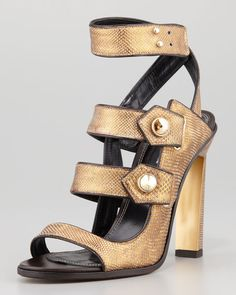Derek Lam - Beatrice Snakeskin Strappy Sandal, Bronze