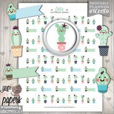 Cactus Stickers, Planner Stickers, Reminder Stickers, Printable Planner Stickers, Cute Stickers, Erin Condren, Planner Accessories, Stickers