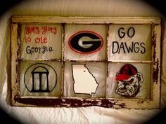 University of Georgia Hand Painted Window Pane via Etsy
